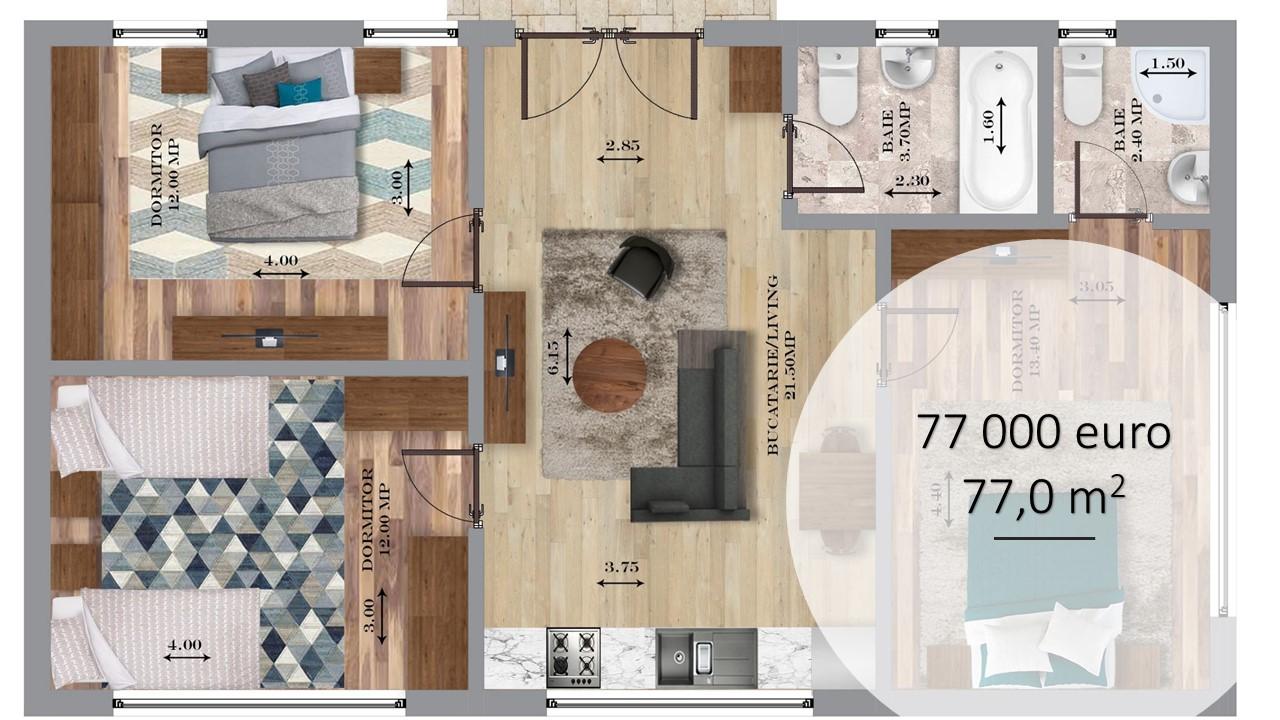 De ce case parter cu 2 sau 3 dormitoare ?